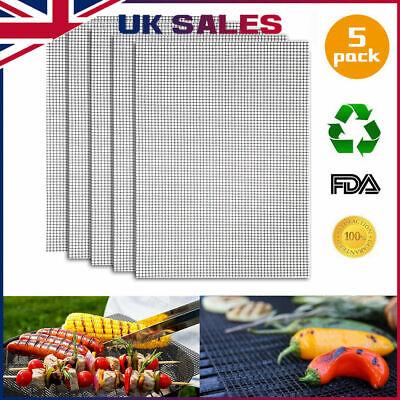 BBQ Grill Mesh Non-Stick Mat Reusable Teflon Sheet Resistant Barbecue Meat 5* UK
