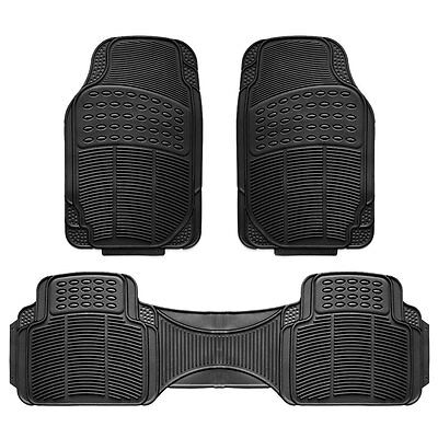 3pc Car Floor Mat Universal Set Carpet Mats Rugs Truck SUV Deluxe Rubber Black Car Floor Mat Set Rug