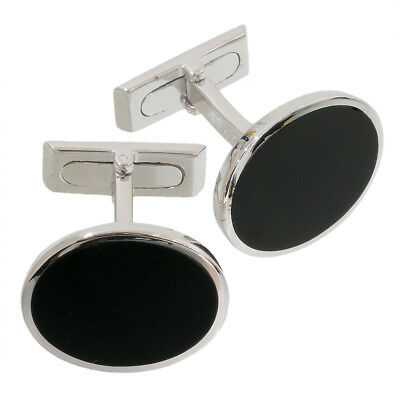 Gucci Onyx Design Cufflinks in 18k White Gold w/Box D3679