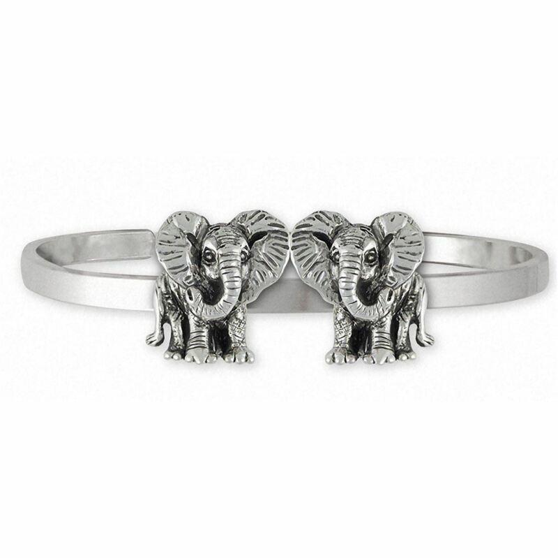 Double Elephant Jewelry Sterling Silver Double Elephant Bracelet Handmade Wildli