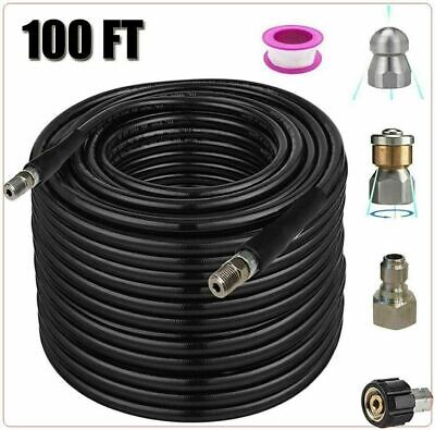 Sewer Jetter Nozzles Kit 100ft Pressure Washer Hose 14 Inch