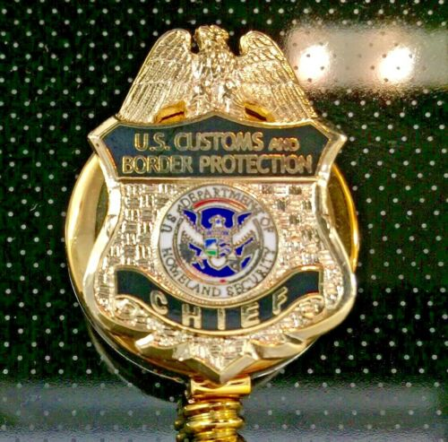 CBP Chief ID Holder Gold Logo on ID Reel