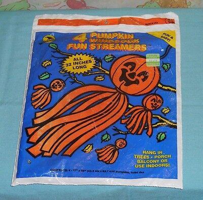 vintage Sun Hill HALLOWEEN PUMPKIN WINDSOCK FUN STREAMERS new/sealed - Halloween Windsock