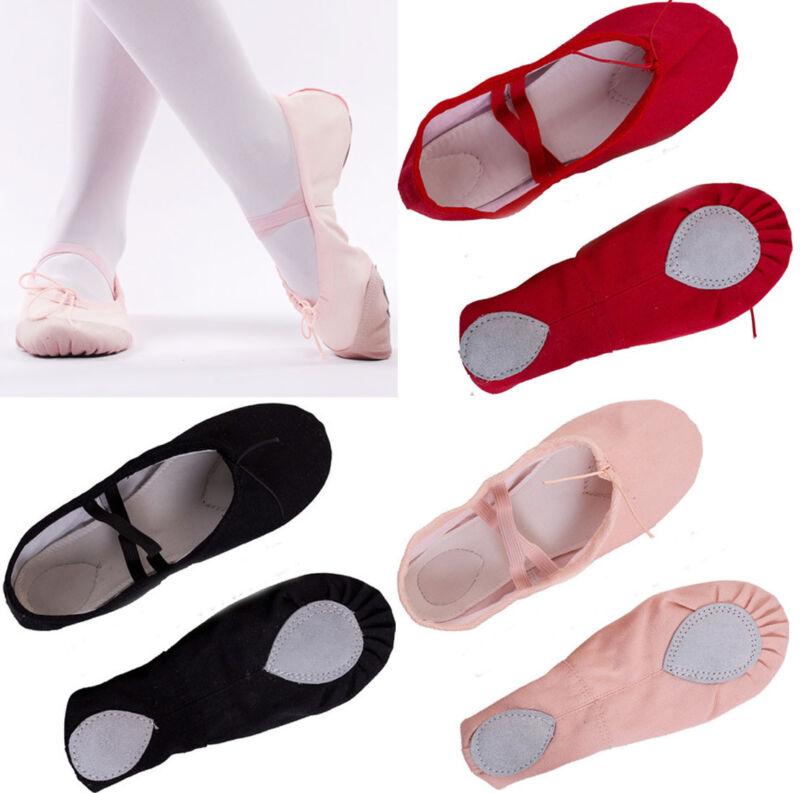 New Child Girls Kids Soft Split-Sole Canvas Ballet Dance Sho