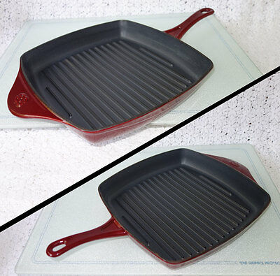 """Calphalon Square Grill Pan - Calphalon Square Grill Fry Pan Skillet RED Enameled Cast Iron 11"""" USA - retired"""
