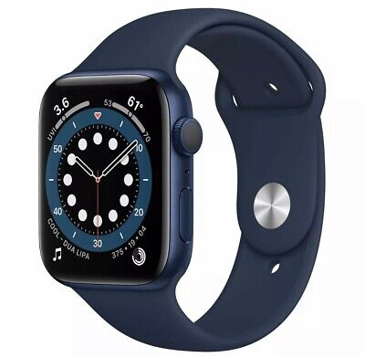 Apple Watch Series 6 44mm Blue Aluminum Case Deep Navy Sport Band GPS WIFI NEW