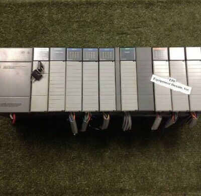 Allen Bradley Slc500 10 Slot Rack Loaded With 9 Modules And 1 Spacer.