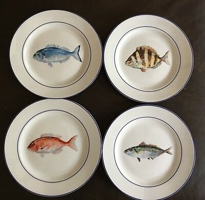 Williams Sonoma La Mer Marc Lacaze Fish Seafood Salad Dessert Plates   Set Of 4
