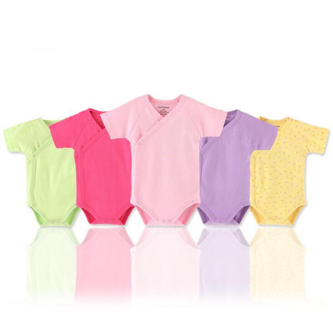 baby girls short sleeves kimono cotton side
