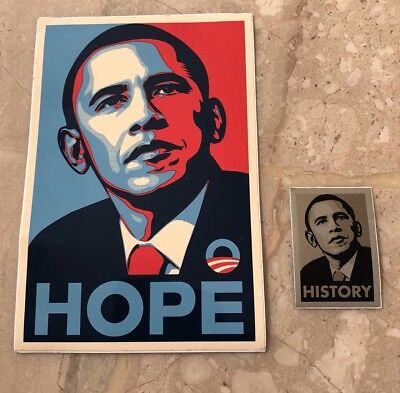 Obey HISTORY Set 2 STICKERS Barack Obama  Hope History Shepard Fairey