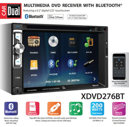 Dual Electronics XDVD276BT 6.2 inch LED Backlit LCD Multimedia Touch Screen™