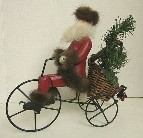 Vintage Hand Painted Wooden Santa on Bicycle - Fur Trimmed Hat and Coat
