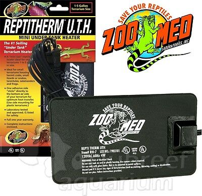 "ReptiTherm Mini UTH Mat Heater 1-5 Gallon Reptile Terrarium 4"" x 5"" Heating Pad"