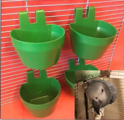 4 x FYNN'S Parrot Clip On Water Food Bowl Plastic Feeder 2 Hook Coop Cup 9.5cm
