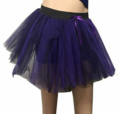 Womens 3 Layers Black And Purple Tutu Skirt Ladies Halloween Party Wear - Purple And Black Tutu Skirt