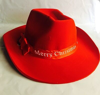 Adult Merry Christmas Cowboy RED Hat Party Accessory Holiday party Favor   - Red Party Hat