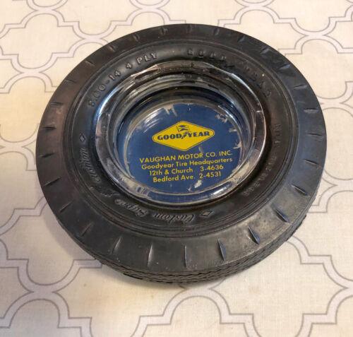 "Vintage Goodyear Tire Ash Tray Vaughan Motor Co. Inc. Lynchburg, VA- 6"" Diameter"