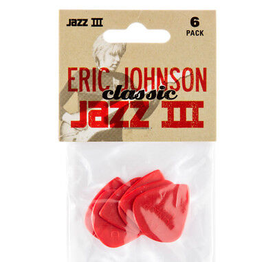 Red Classic Guitar - (6) Dunlop USA Eric Johnson Classic Red Nylon Jazz III Guitar/Bass Picks 47PEJ3N