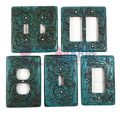 Turquoise Switch Plate Cover Embossed Floral Design Rustic Western Rocker Outlet ()