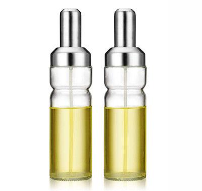 lot of 2 Olive Oil Sprayer Misting Bottle Glass Stainless Steel Mister Bottle