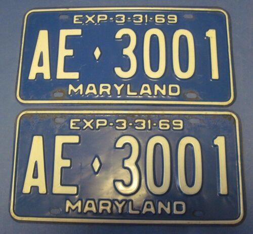 1969 Maryland License Plates Matched Pair