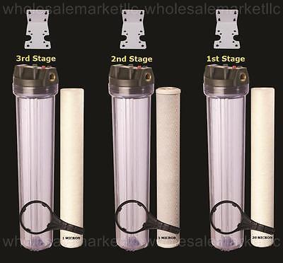 Flow Filter Housing - Whole House Water Filter Purifier Sediment & CTO Carbon 3 High Flow 20