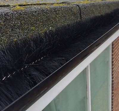 Set of 2 x Black Gutter Brush Leaf Guard (4m Rolls) - Gutter Protection
