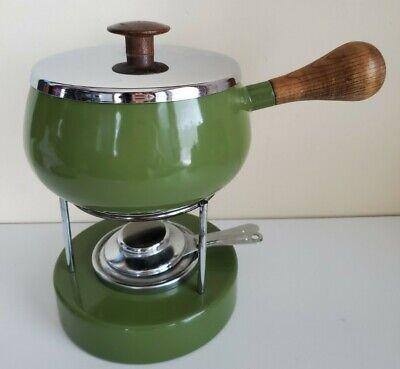 Vintage Retro Fondue Pot Set with Base Avocado Green Wood Handle