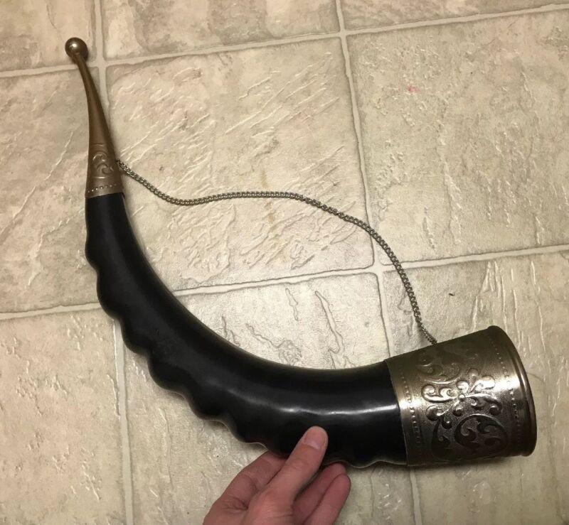 "Vintage Large Bull Black Horn Viking Drinking Wall Hanging 21"""