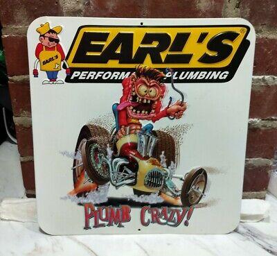 Earl's Performance Plumbing Plumb Crazy Metal Sign Embossed Man Cave Gas Oil