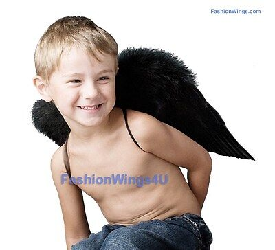 Children Toddlers Unisex Black Costume Feather Angel Wings flying monkey props](Fly Wings Costume)