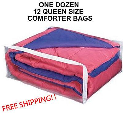 1 DOZEN QUEEN SIZE COMFORTER STORAGE BAGS  - PACKAGE OF 12 BLANKET (QUEEN) BAG