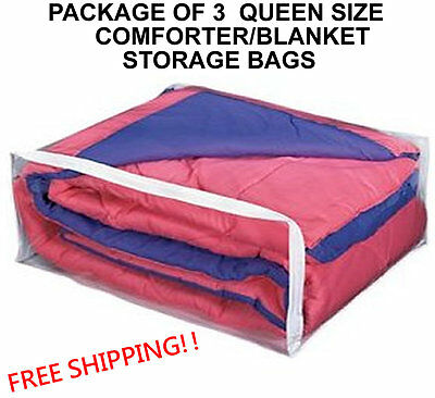 3 QUEEN SIZE COMFORTER STORAGE BAGS  - PACKAGE OF 3 BLANKET (QUEEN) BAG