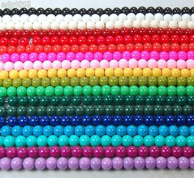 "Beads - Quality Czech Opaque Glass Pearl Smooth Round Beads 16""4,6,8,10,12mm"