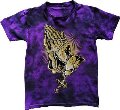 Prayer T-Shirt rosary beads hands praying cross cool tattoo tie -