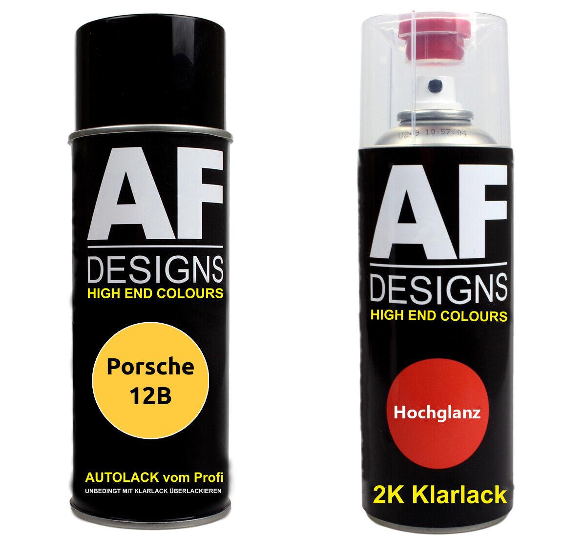 Autolack Spraydose Set Porsche 12B Camelgelb Basislack 2k Klarlack Sprühdose 40