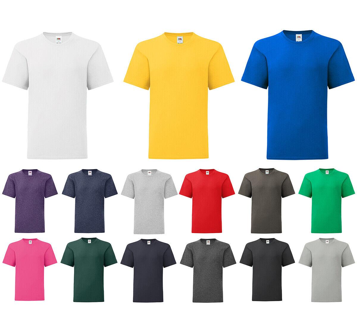 Kinder T-Shirt für Jungen Mädchen Shirt Baumwolle Rundhals Fruit of the Loom