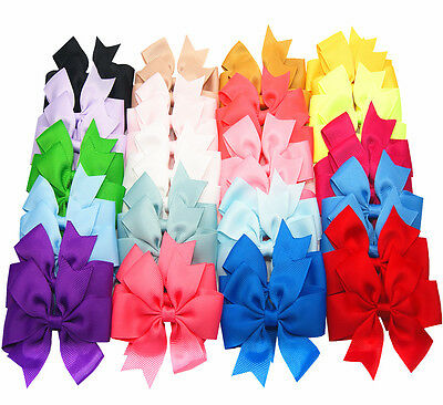 100Pcs Kids Baby Girls 4  Alligator Clip Ribbon 40 Colors Hair Bows Clips