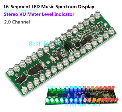 Stereo Vu Meter Level Indicator 2 Channel Music Spectrum 16 Segment Led Display