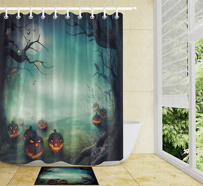Spooky Halloween Forest (100% Polyester Shower Curtain Set Hooks Halloween Spooky Forest And Pumpkins)