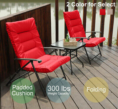 PHI VILLA Outdoor Patio Padded Folding Chairs and Glass Side Table Set of 3 ()