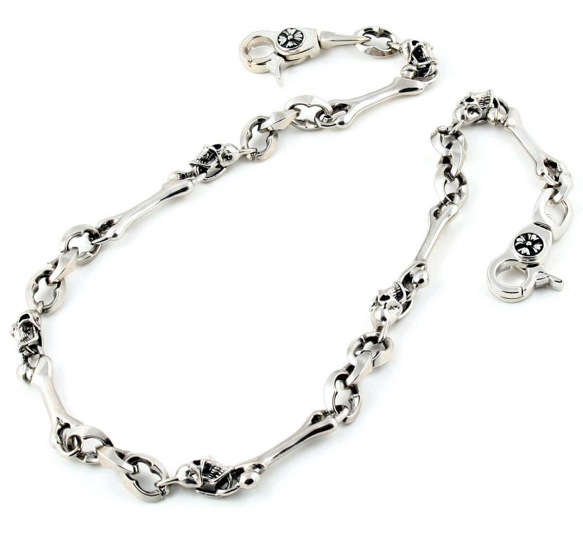 """27.5/"""" DK Hook /& Clip Skull Biker Trucker Key Jean Wallet Chain Silver CS28"""