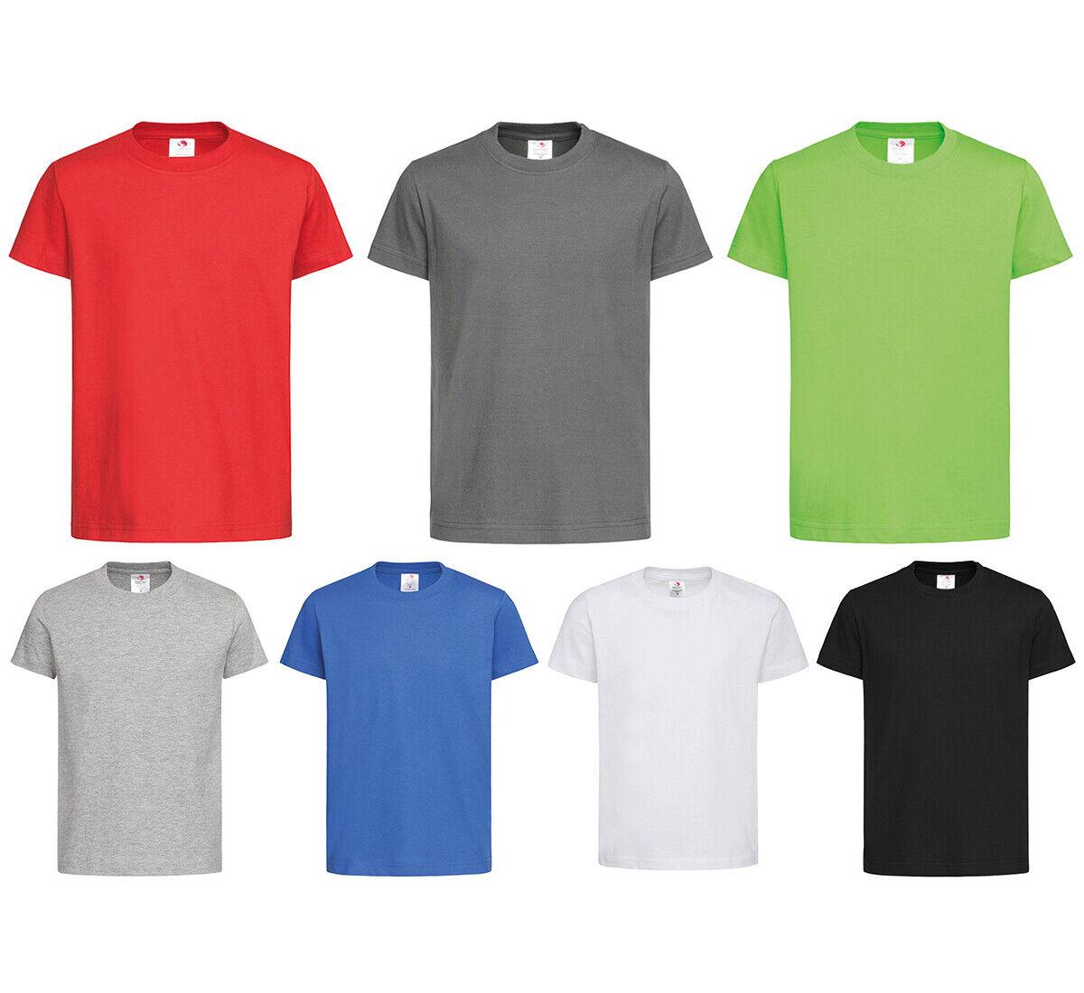 Organic Kinder T-Shirt Bio Baumwolle Shirt Rundhals Uni Basic Jungen Mädchen