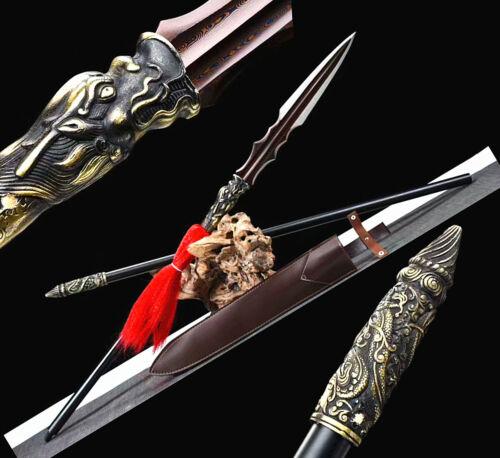 215cm Spear WUSHU lance Sword Saber Red Damascus Steel Blade Steel Handle