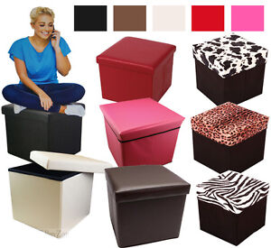 Large Faux Leather Suede Ottoman Folding Storage Pouffe