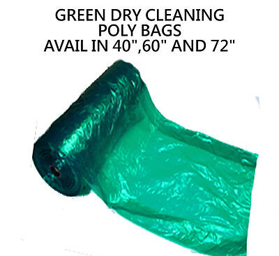 "Dry Cleaning Poly Garment Bags 40"" GREEN- 440 bags/roll ""Great Quality Plastic """