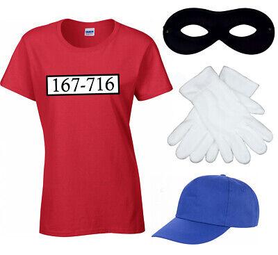 Panzerknacker T-Shirt Damen Fasching Kostüm JGA Karneval Set - Cap Kostüme Maske