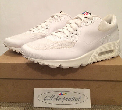 NIKE AIR MAX 90 HYPERFUSE USA WHITE Sz US12 UK11 QS 613841-110 Independence