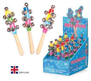 WOODEN HAND BELL STICK Kids Musical Rattle Toy Christmas Gift Stocking Filler UK