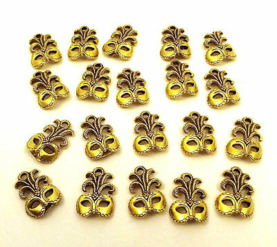 Set of Twenty (20) Gold Tone Pewter Mardi Gras/Masquerade Mask Charms - 5028 - Wholesale Mardi Gras Supplies